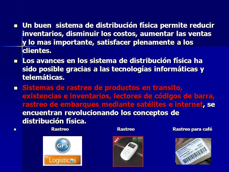 Un buen sistema de distribución física permite reducir inventarios, disminuir los costos, aumentar las ventas y lo mas importante, satisfacer plenamente a los clientes.