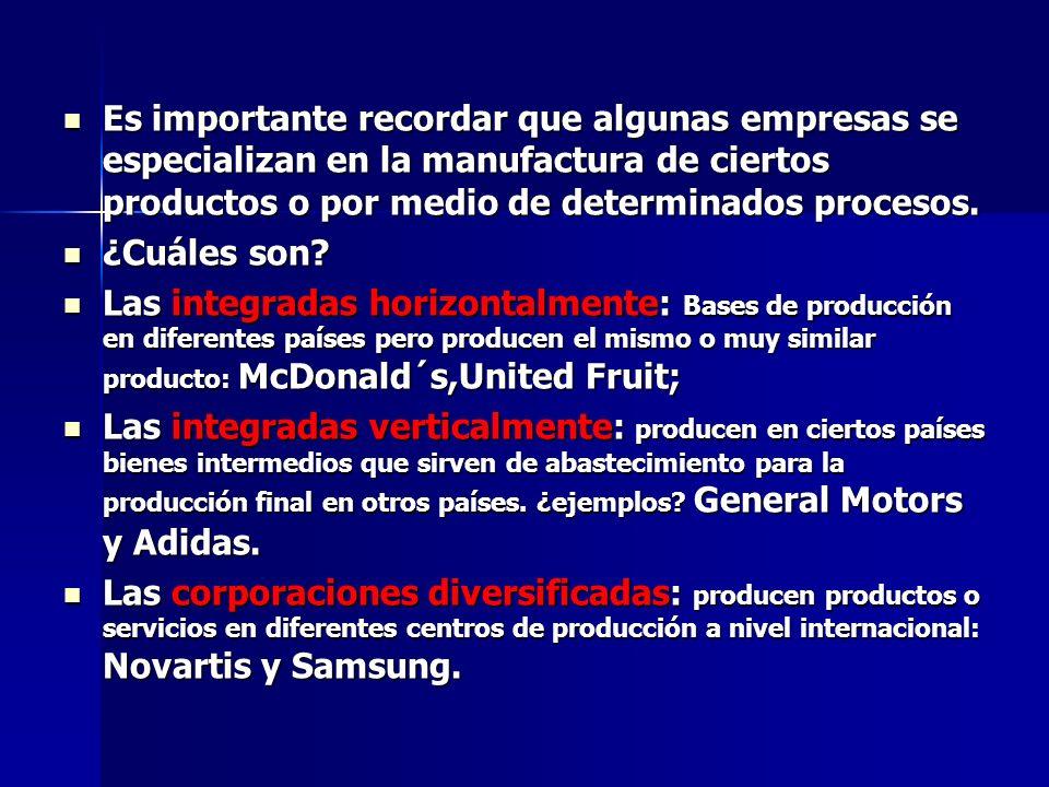 Es importante recordar que algunas empresas se especializan en la manufactura de ciertos productos o por medio de determinados procesos.