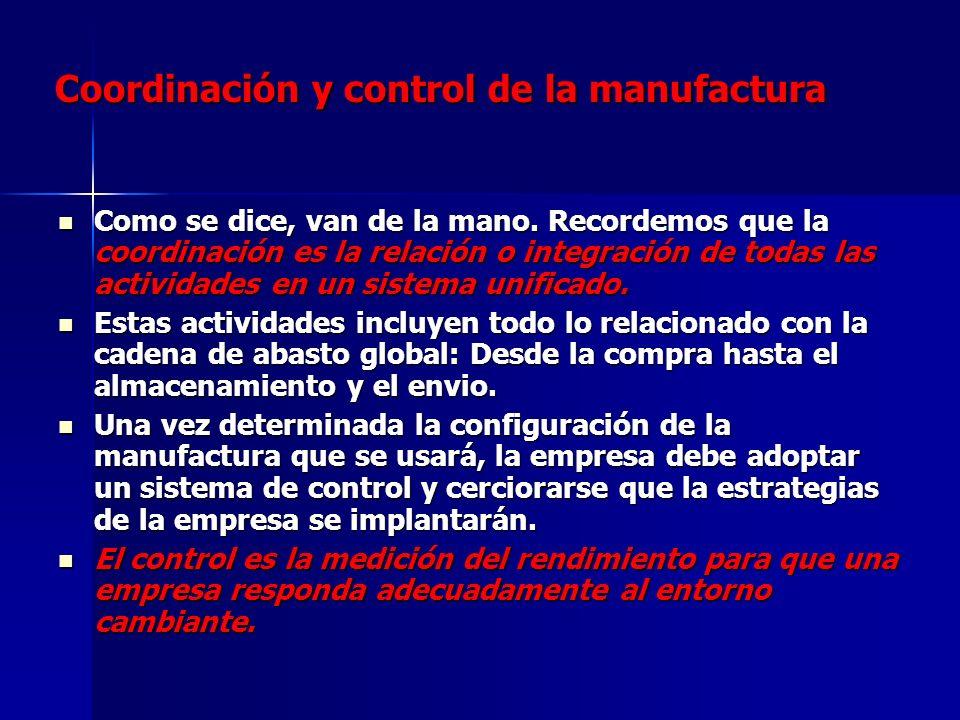 Coordinación y control de la manufactura