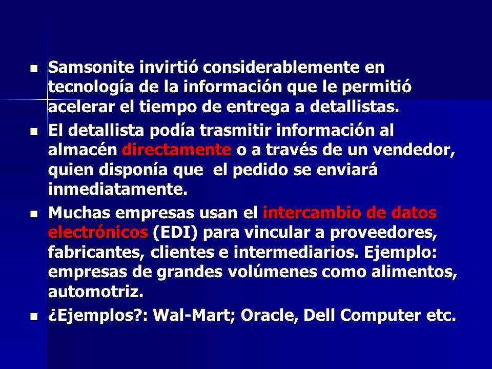 Samsonite invirtió considerablemente en tecnología de la información que le permitió acelerar el tiempo de entrega a detallistas.