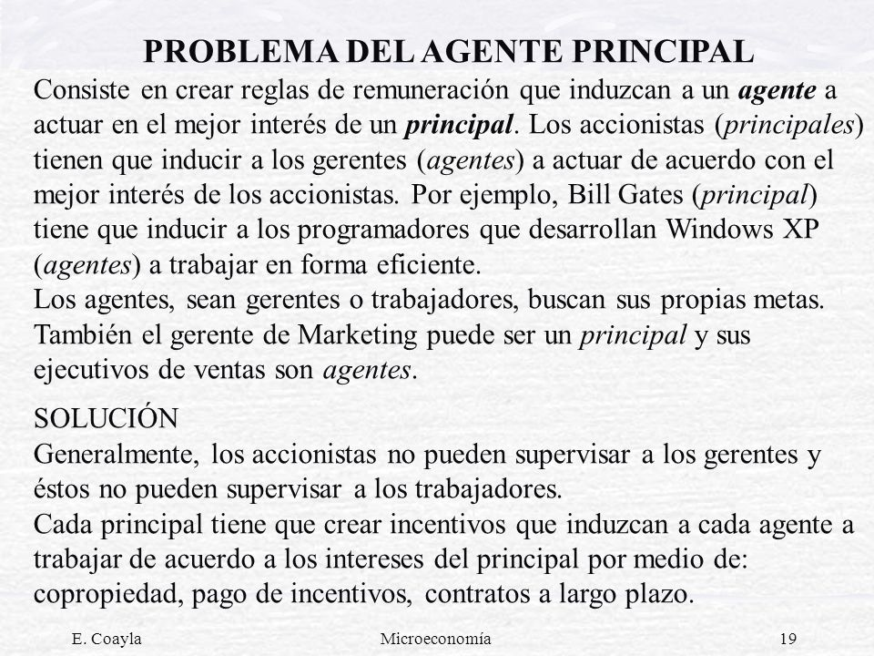 PROBLEMA DEL AGENTE PRINCIPAL
