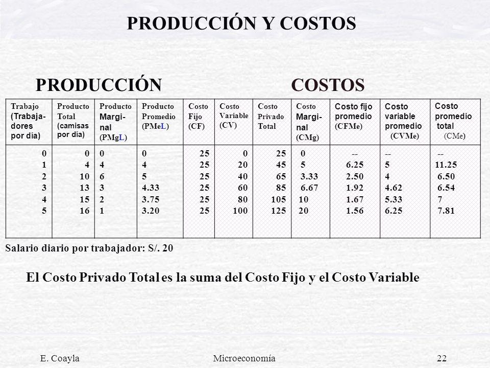 PRODUCCIÓN Y COSTOSPRODUCCIÓN COSTOS. Trabajo (Trabaja-dores por día) Producto Total. (camisas por día)