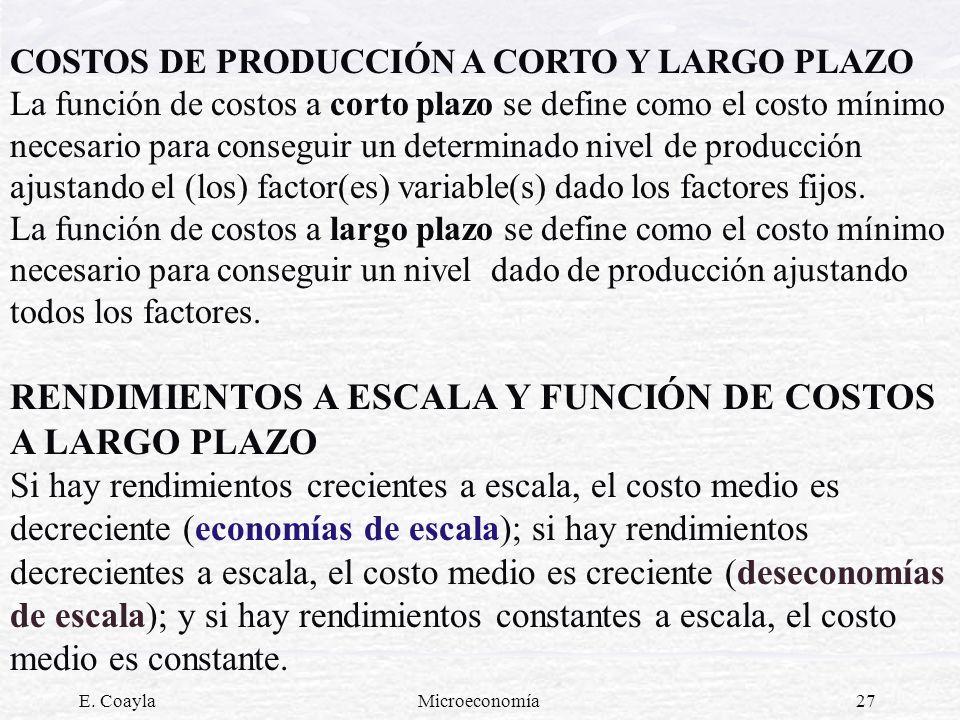 RENDIMIENTOS A ESCALA Y FUNCIÓN DE COSTOS A LARGO PLAZO