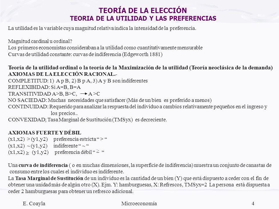 TEORÍA DE LA ELECCIÓN TEORIA DE LA UTILIDAD Y LAS PREFERENCIAS