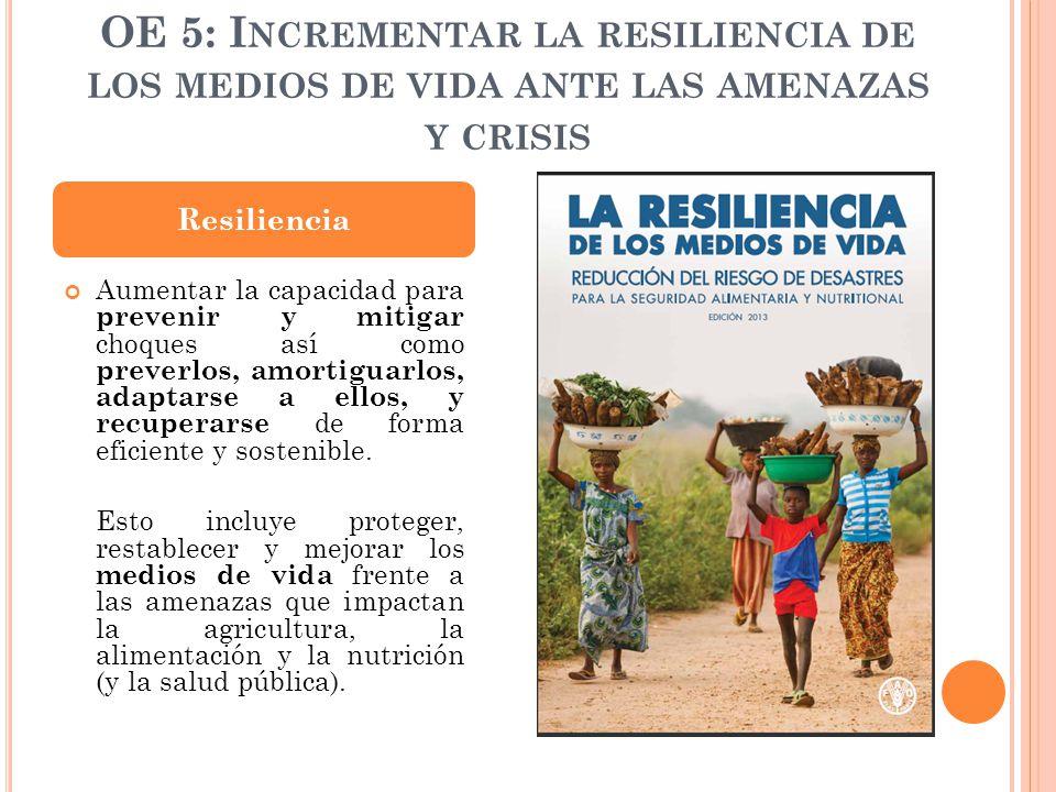OE 5: Incrementar la resiliencia de los medios de vida ante las amenazas y crisis