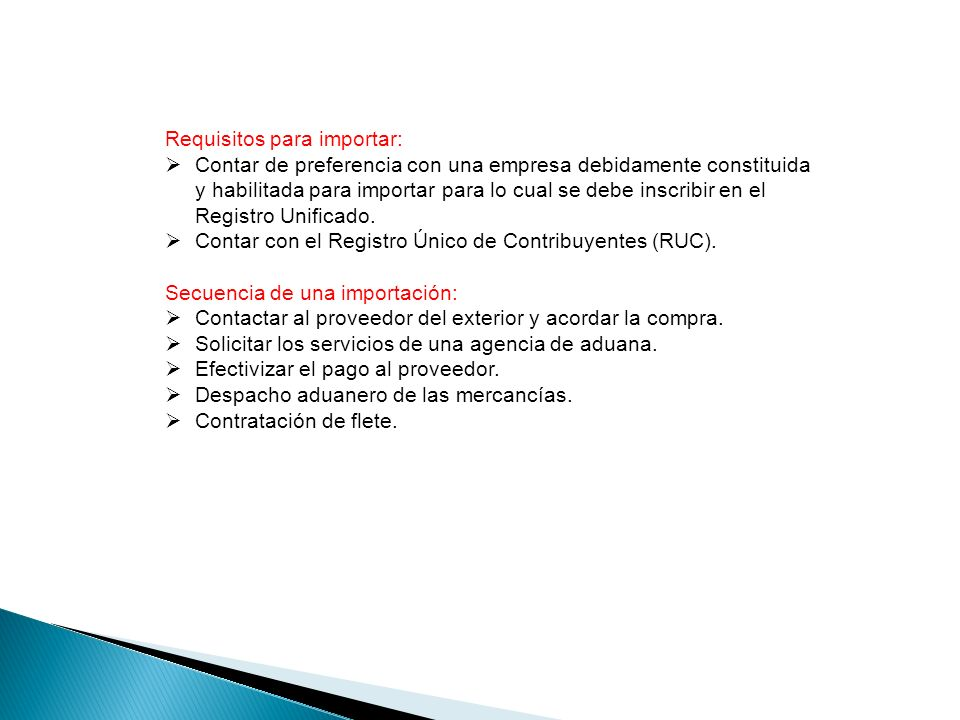 Requisitos para importar: