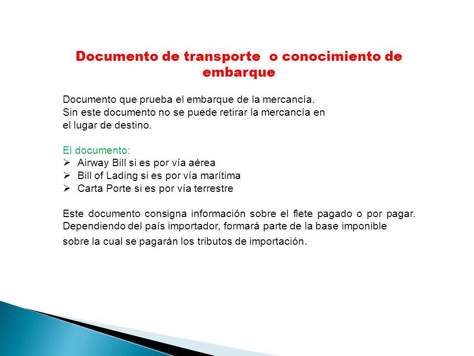 Documento de transporte o conocimiento de embarque