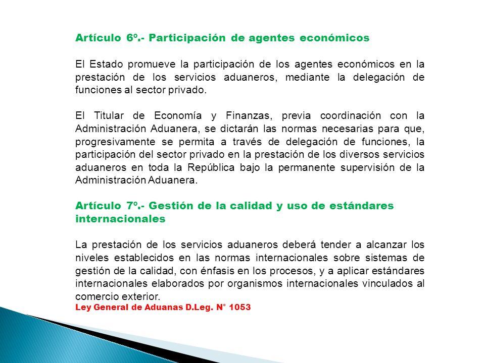 Artículo 6º.- Participación de agentes económicos