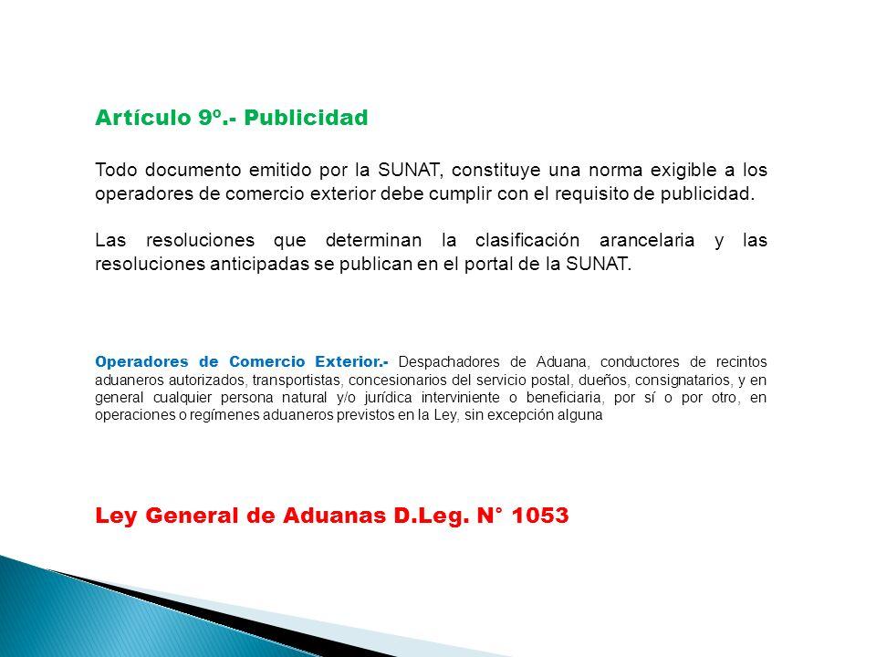 Artículo 9º.- Publicidad