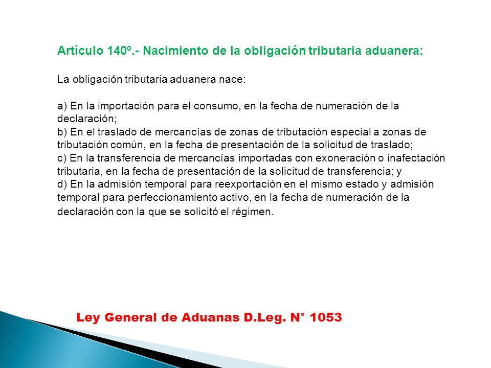 Artículo 140º.- Nacimiento de la obligación tributaria aduanera: