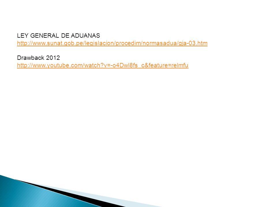 LEY GENERAL DE ADUANAS http://www.sunat.gob.pe/legislacion/procedim/normasadua/gja-03.htm. Drawback 2012.