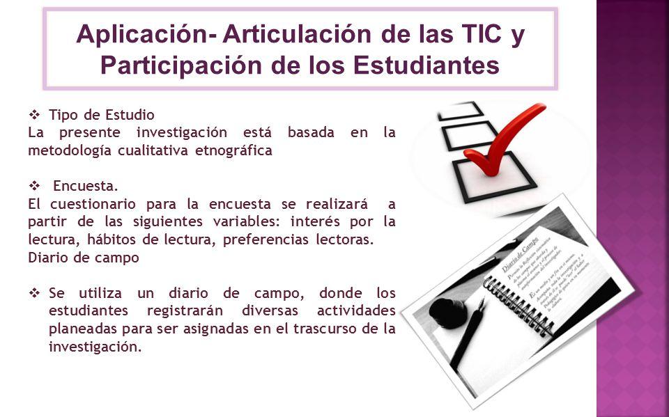 Aplicación- Articulación de las TIC y Participación de los Estudiantes