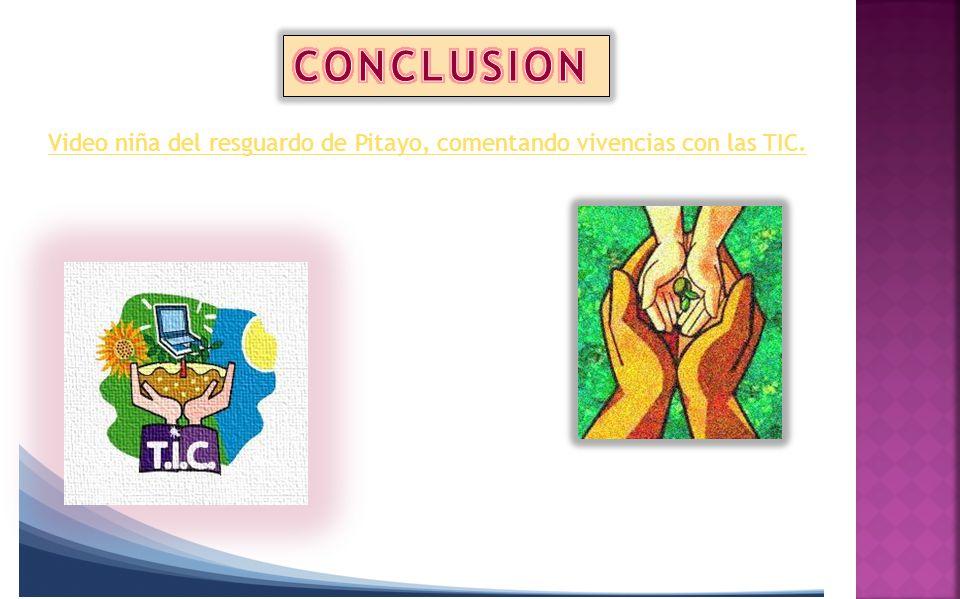 CONCLUSION Video niña del resguardo de Pitayo, comentando vivencias con las TIC.