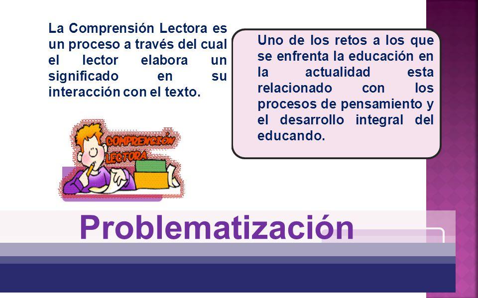 La Comprensión Lectora es un proceso a través del cual el lector elabora un significado en su interacción con el texto.