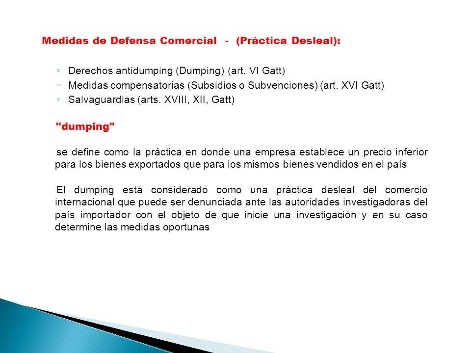 Medidas de Defensa Comercial - (Práctica Desleal):