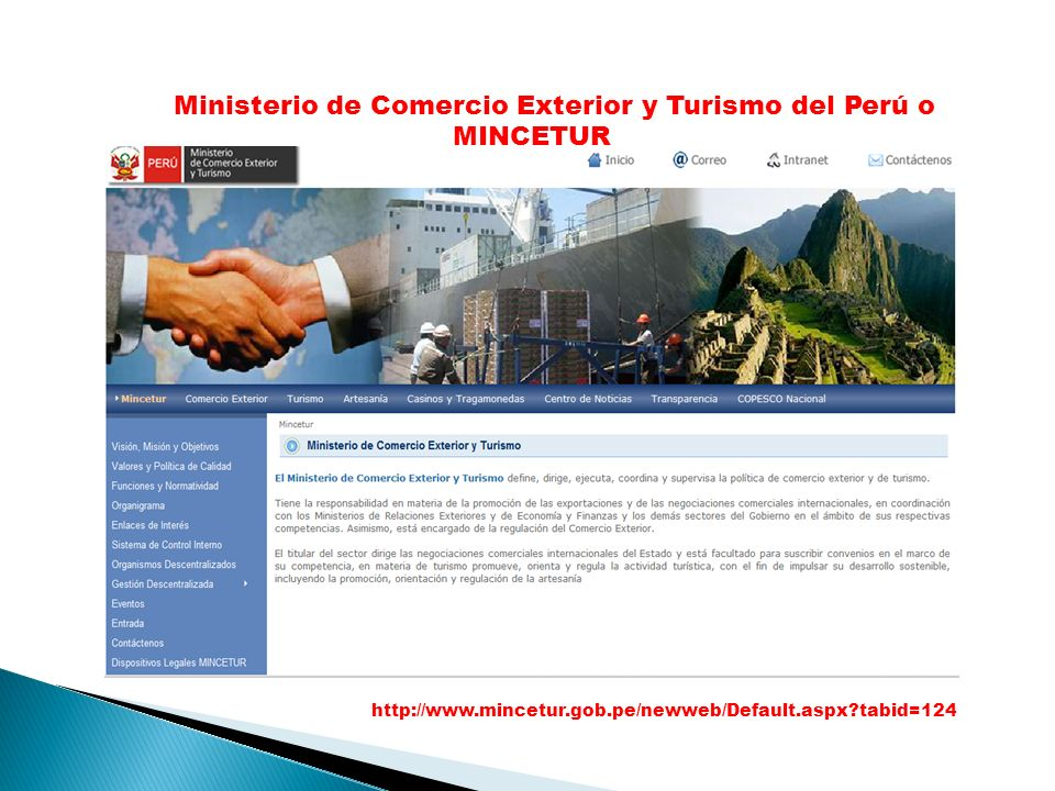 Ministerio de Comercio Exterior y Turismo del Perú o MINCETUR
