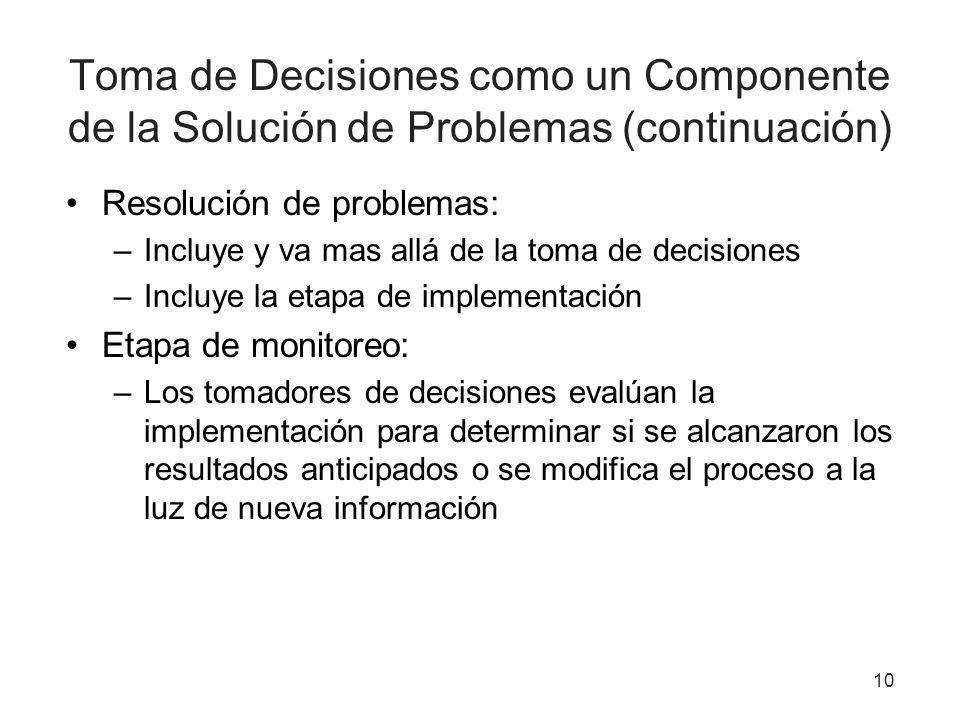 Toma de Decisiones como un Componente de la Solución de Problemas (continuación)