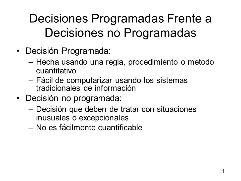 Decisiones Programadas Frente a Decisiones no Programadas