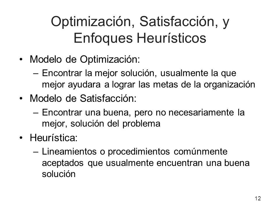 Optimización, Satisfacción, y Enfoques Heurísticos