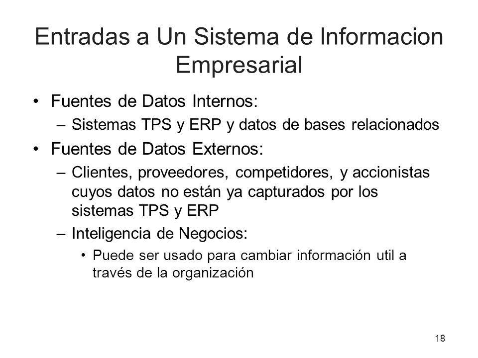 Entradas a Un Sistema de Informacion Empresarial