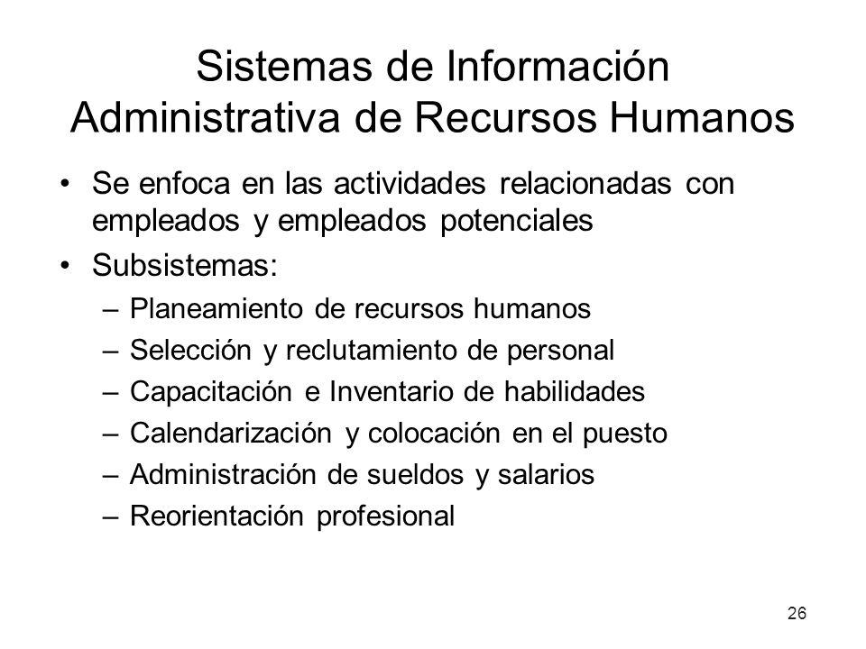 Sistemas de Información Administrativa de Recursos Humanos