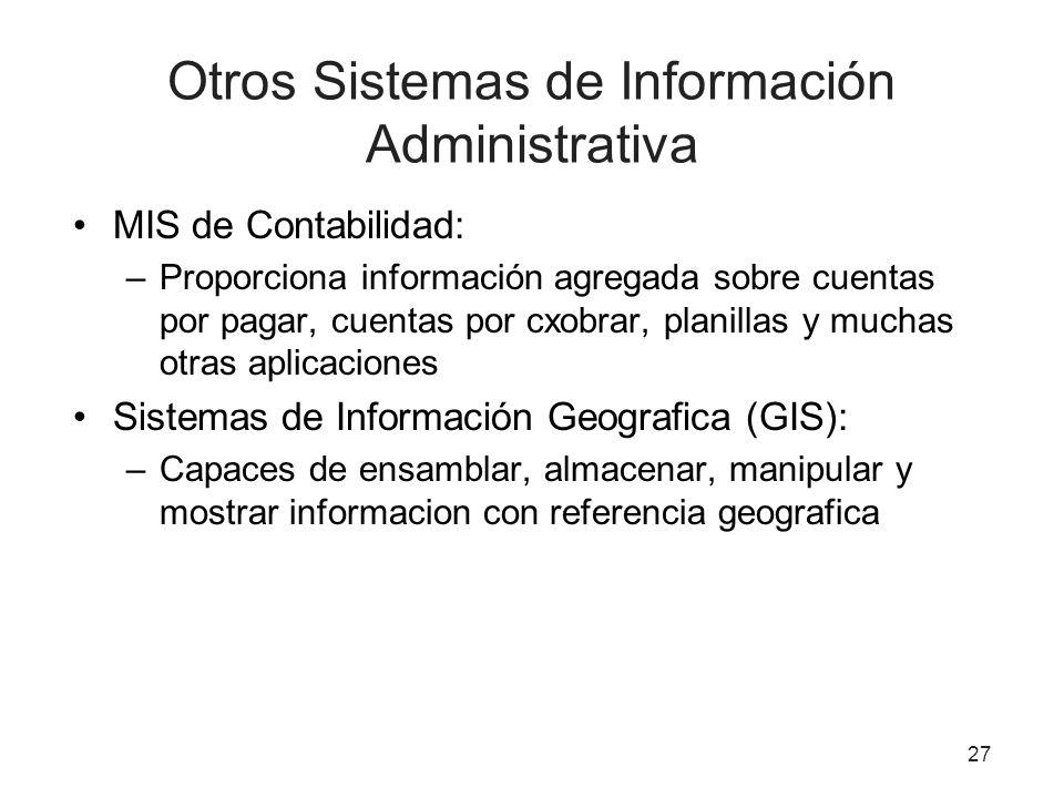 Otros Sistemas de Información Administrativa