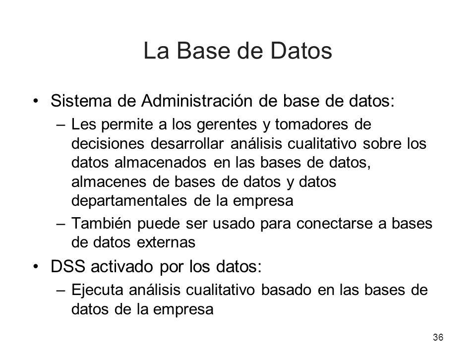 La Base de Datos Sistema de Administración de base de datos: