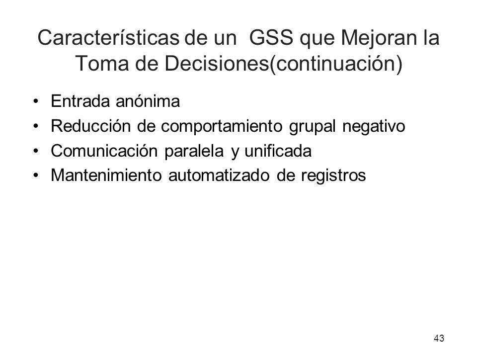 Características de un GSS que Mejoran la Toma de Decisiones(continuación)