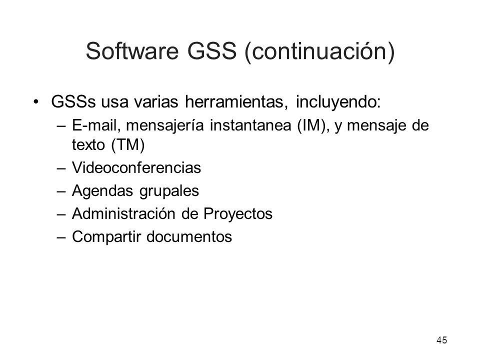 Software GSS (continuación)