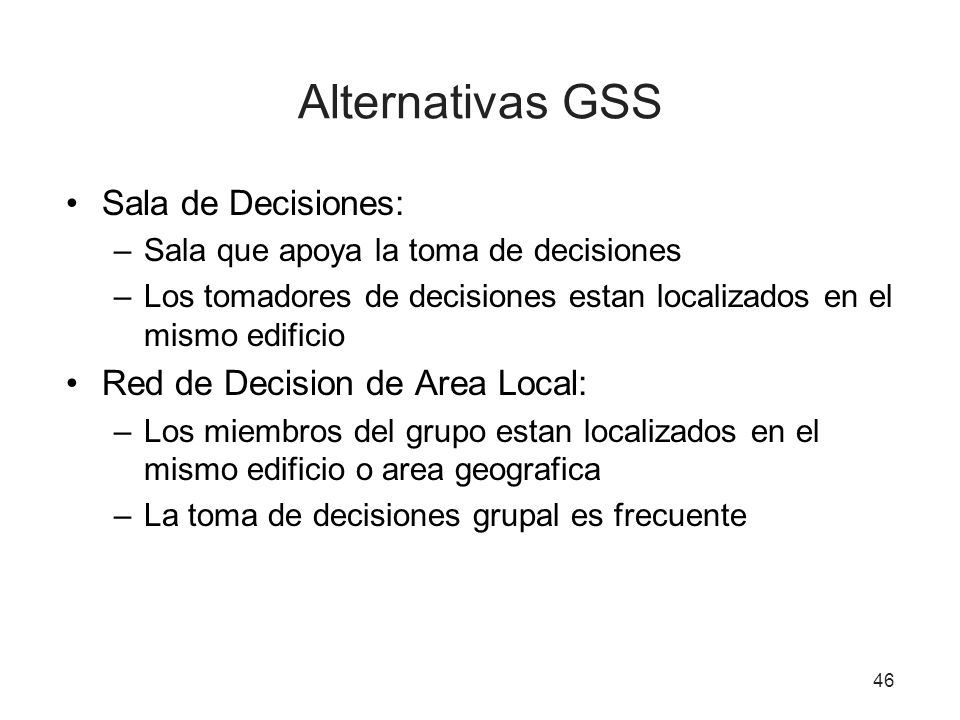 Alternativas GSS Sala de Decisiones: Red de Decision de Area Local:
