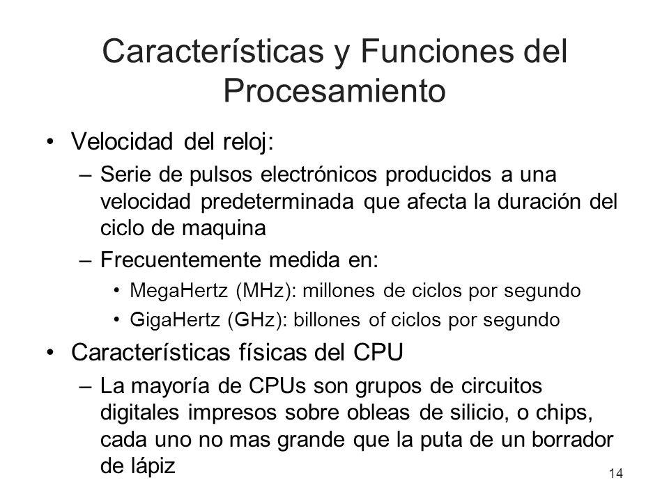 Características y Funciones del Procesamiento