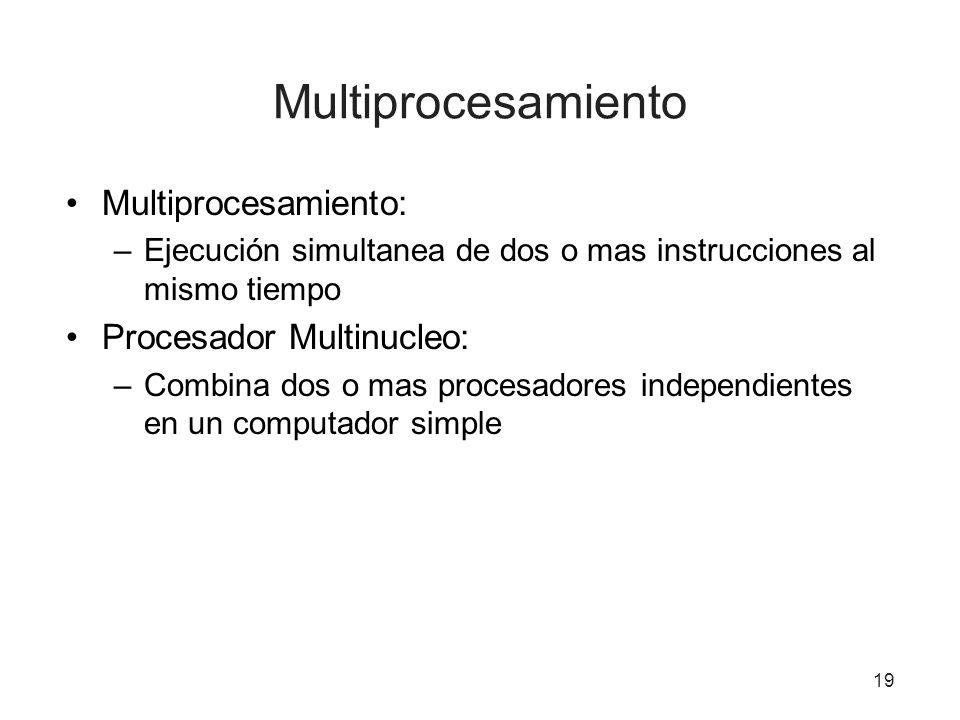 Multiprocesamiento Multiprocesamiento: Procesador Multinucleo:
