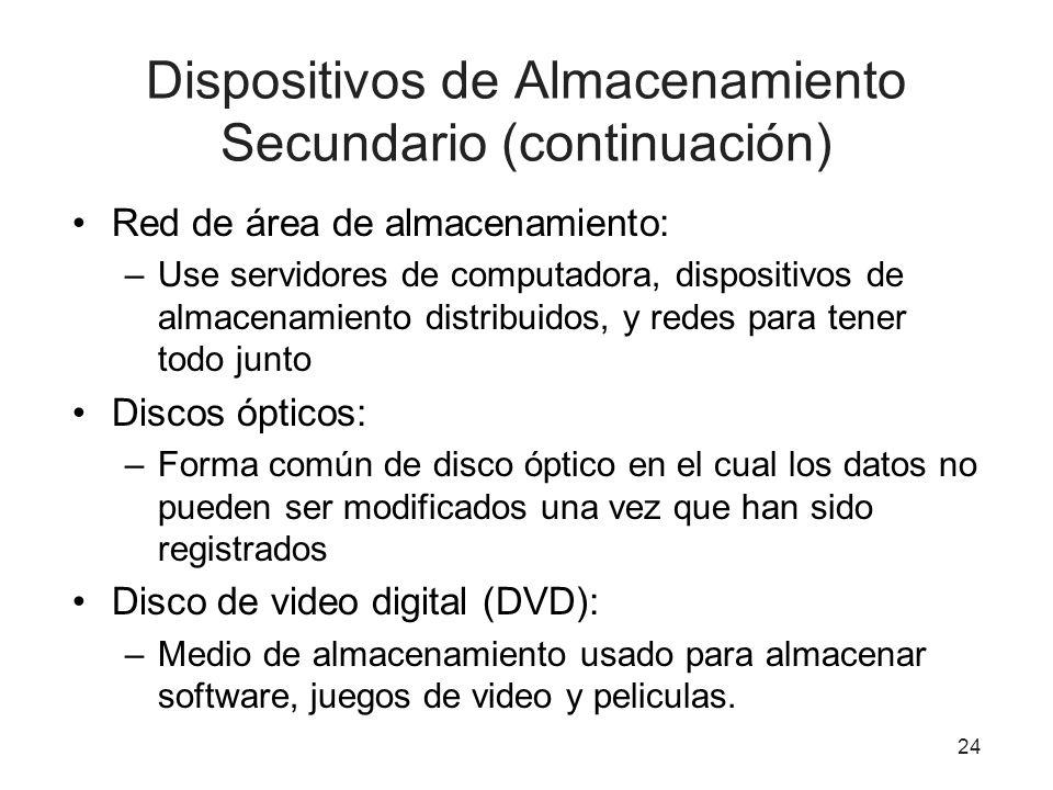 Dispositivos de Almacenamiento Secundario (continuación)