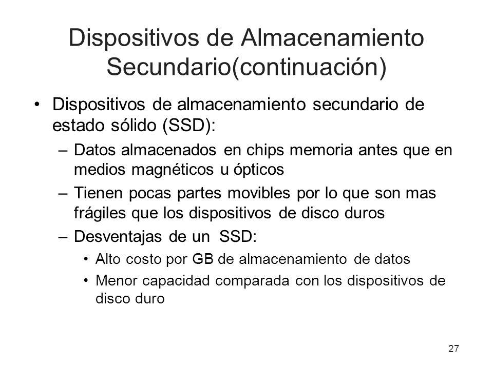 Dispositivos de Almacenamiento Secundario(continuación)