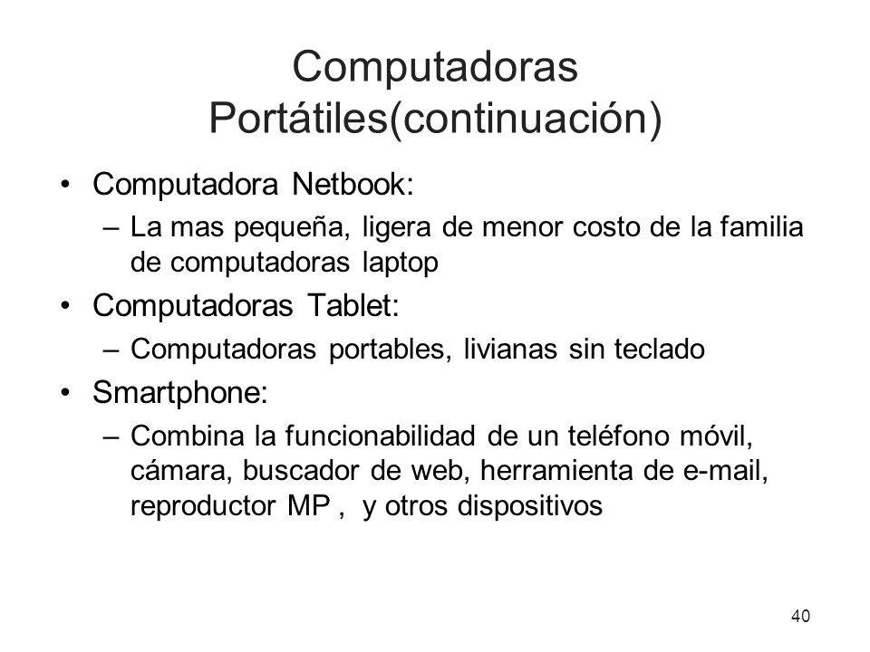 Computadoras Portátiles(continuación)
