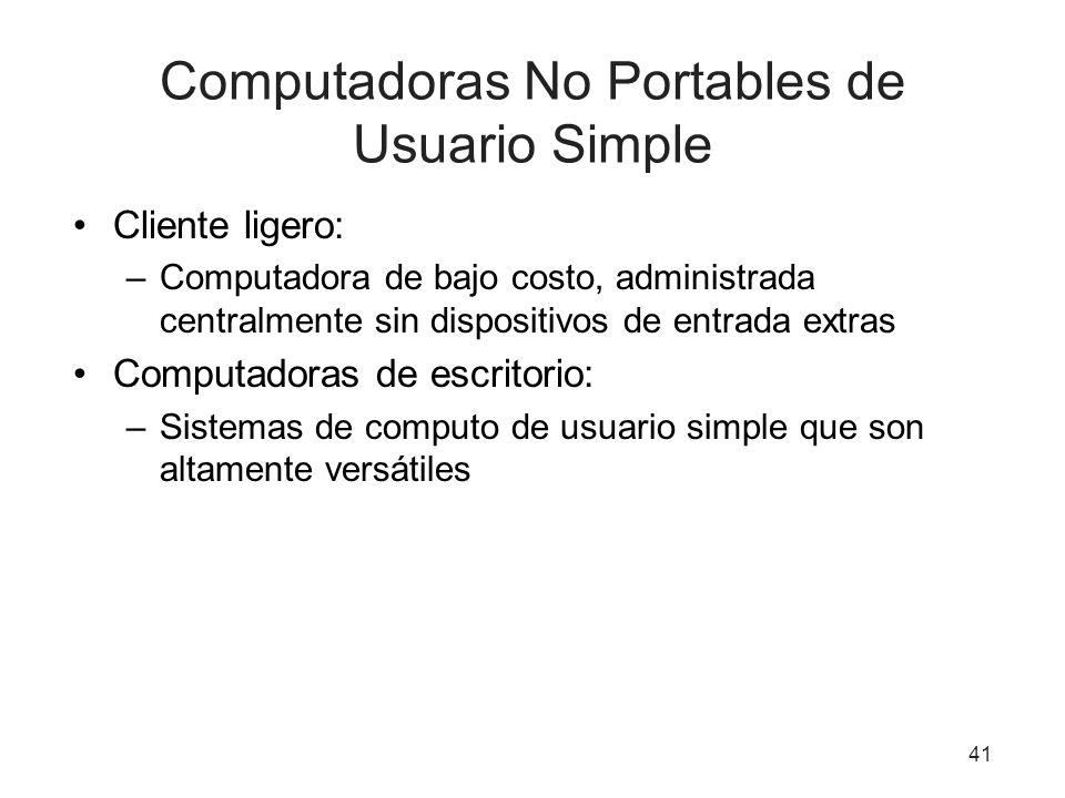 Computadoras No Portables de Usuario Simple