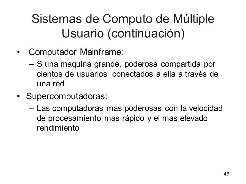 Sistemas de Computo de Múltiple Usuario (continuación)