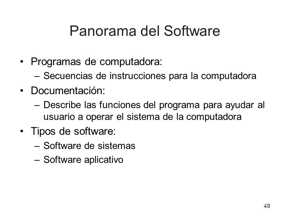 Panorama del Software Programas de computadora: Documentación: