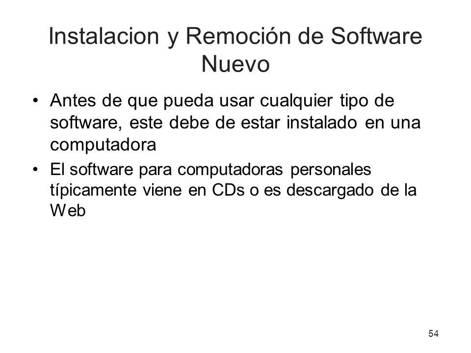 Instalacion y Remoción de Software Nuevo