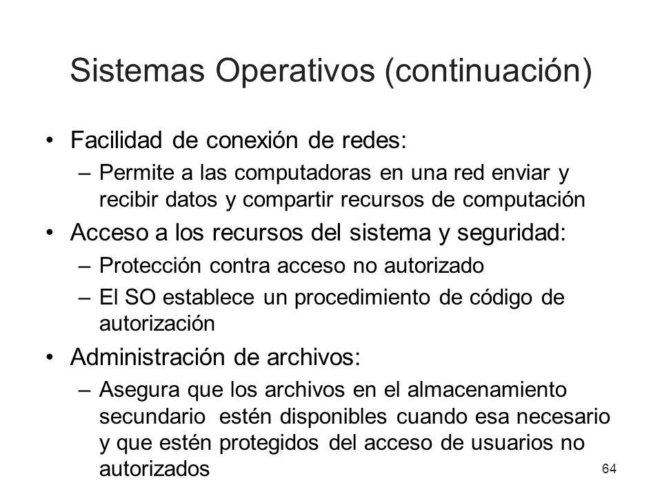 Sistemas Operativos (continuación)