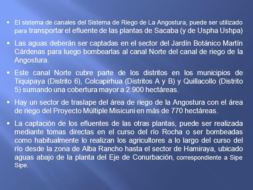 El sistema de canales del Sistema de Riego de La Angostura, puede ser utilizado para transportar el efluente de las plantas de Sacaba (y de Uspha Ushpa)