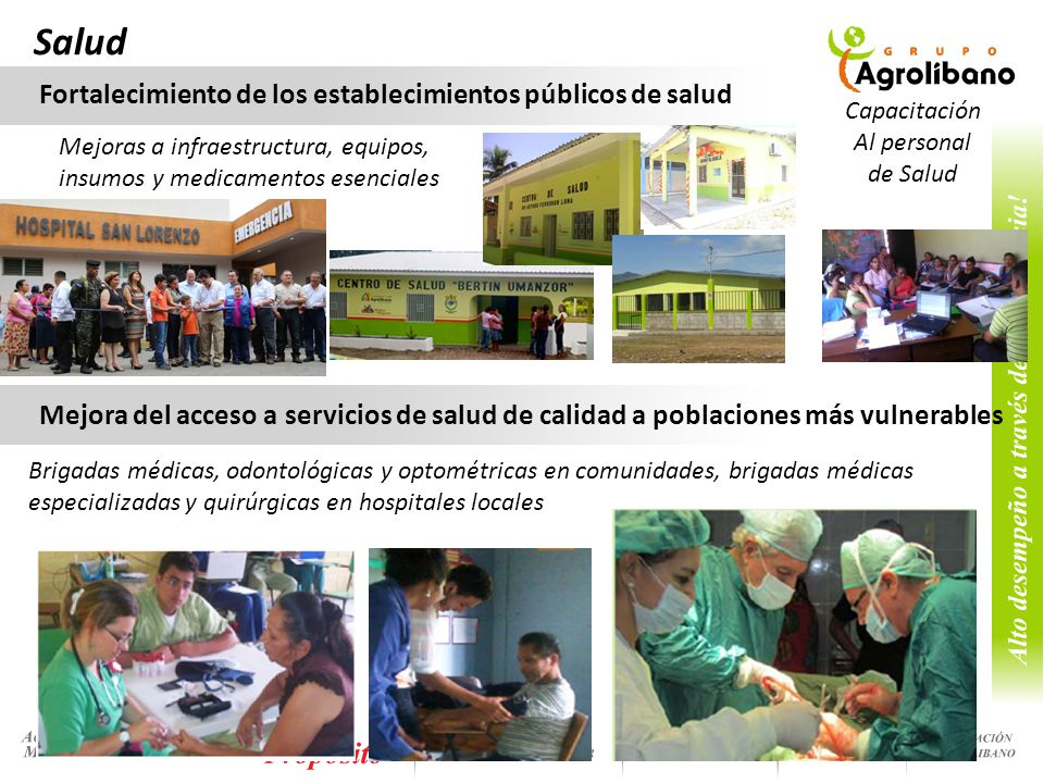 Salud Fortalecimiento de los establecimientos públicos de salud