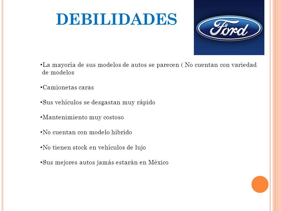DEBILIDADES La mayoría de sus modelos de autos se parecen ( No cuentan con variedad. de modelos. Camionetas caras.