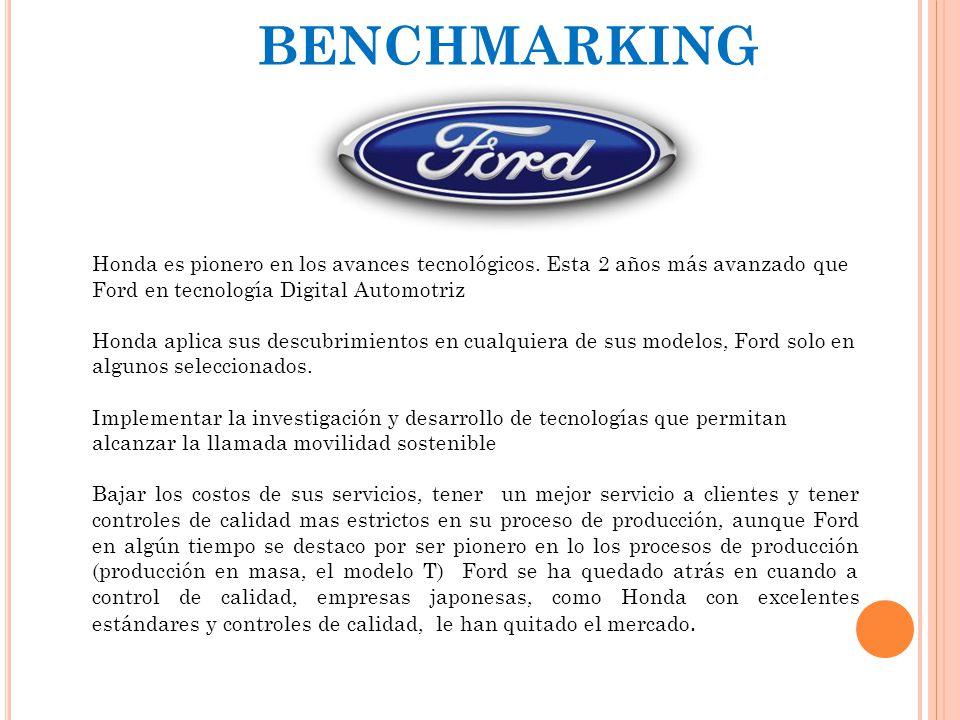 BENCHMARKING Honda es pionero en los avances tecnológicos. Esta 2 años más avanzado que Ford en tecnología Digital Automotriz.