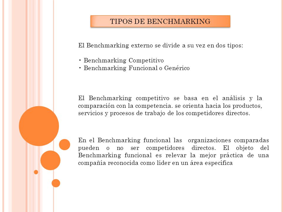TIPOS DE BENCHMARKING El Benchmarking externo se divide a su vez en dos tipos: • Benchmarking Competitivo.