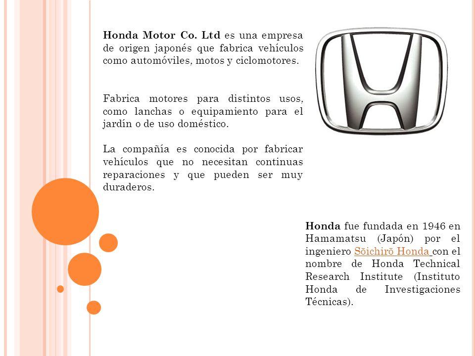 Honda Motor Co. Ltd es una empresa de origen japonés que fabrica vehículos como automóviles, motos y ciclomotores.
