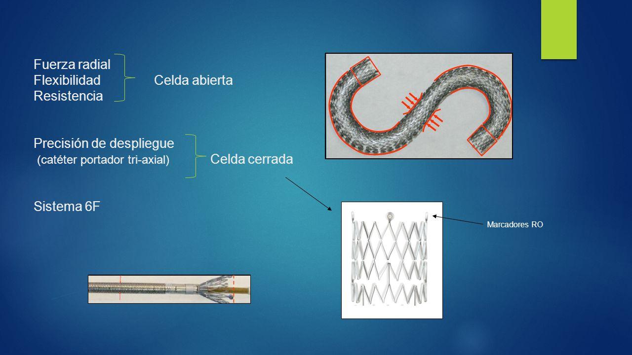 Fuerza radial Flexibilidad Celda abierta Resistencia Precisión de despliegue (catéter portador tri-axial) Celda cerrada Sistema 6F