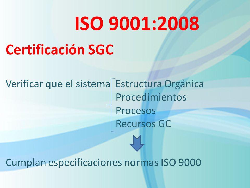 ISO 9001:2008 Certificación SGC