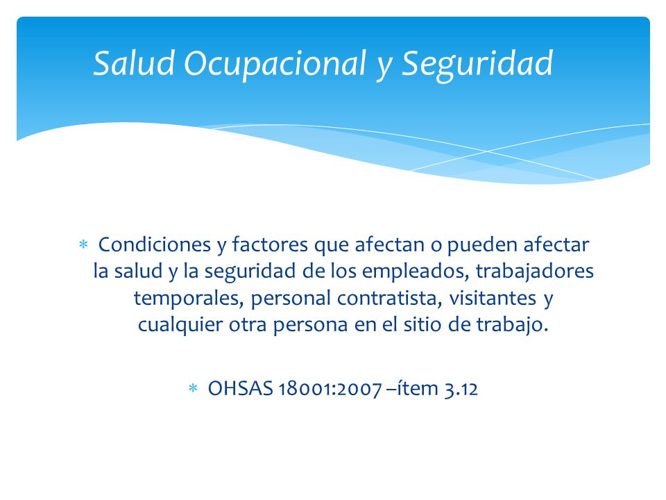 Salud Ocupacional y Seguridad