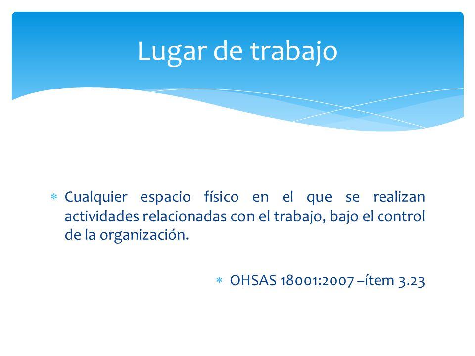Lugar de trabajo Cualquier espacio físico en el que se realizan actividades relacionadas con el trabajo, bajo el control de la organización.